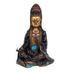 """Antique Chinese Bronze """"Quan Yin"""" Statue"""