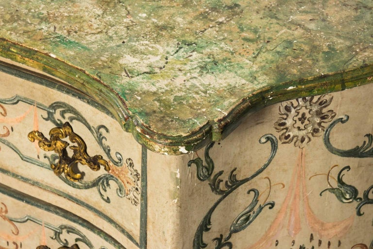 Wood Painted Rococo Style Chest of Drawers For Sale