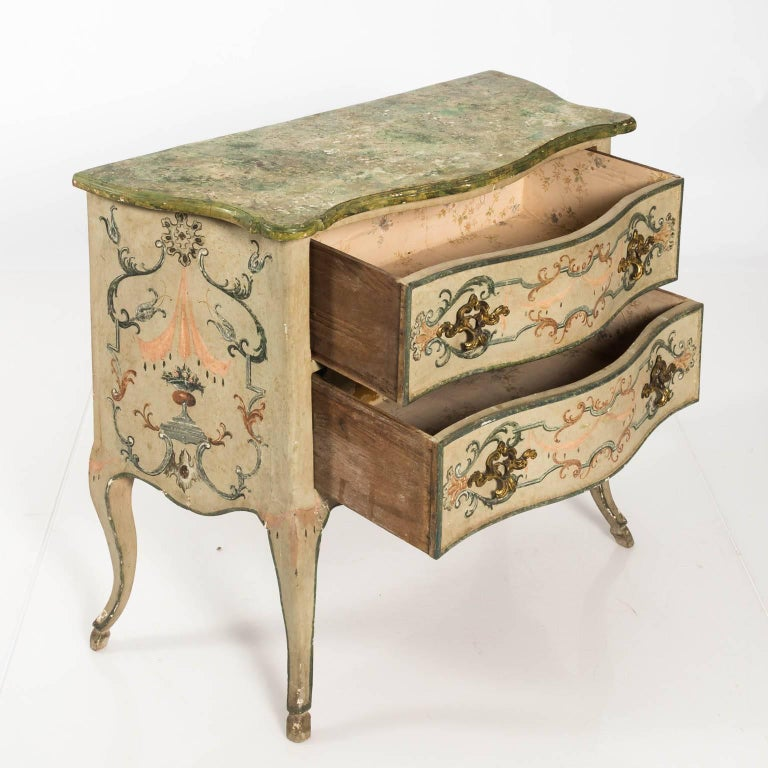 Painted Rococo Style Chest of Drawers For Sale 1