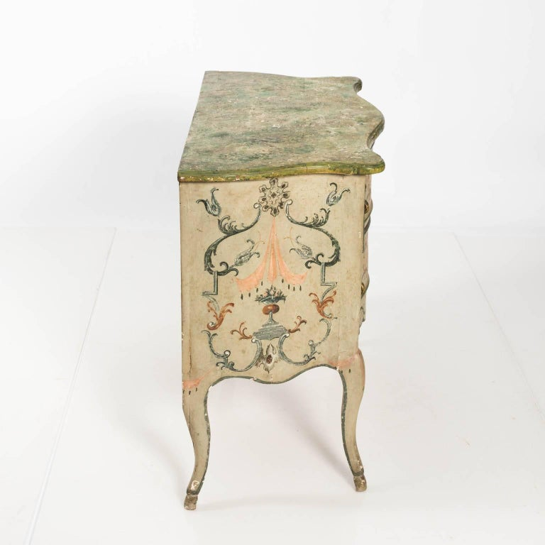 Painted Rococo Style Chest of Drawers For Sale 7