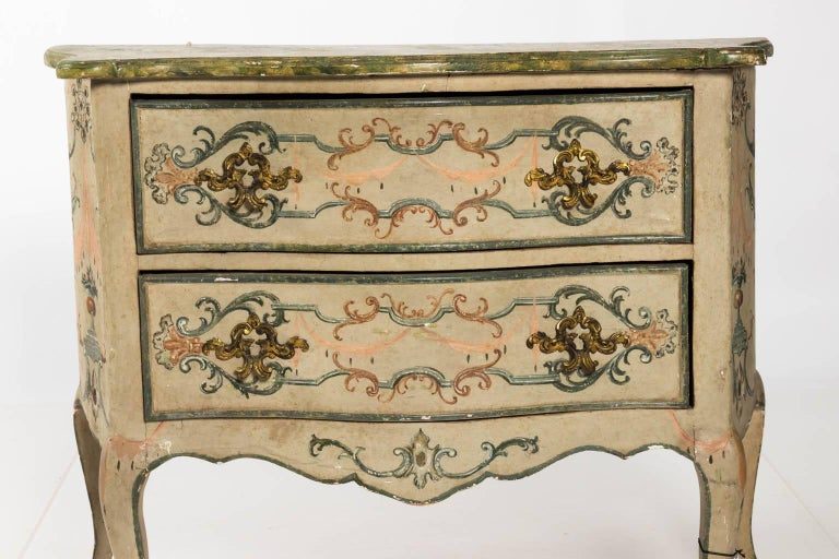 Painted Rococo Style Chest of Drawers For Sale 15