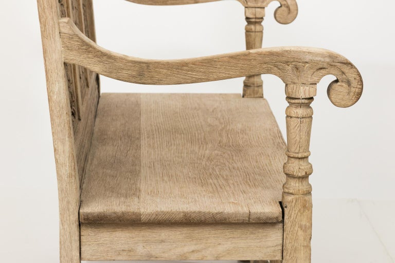 Bleached oak carved jacobean bench circa for sale at