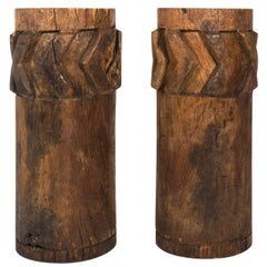 Pair of Wooden Sugar Grinders