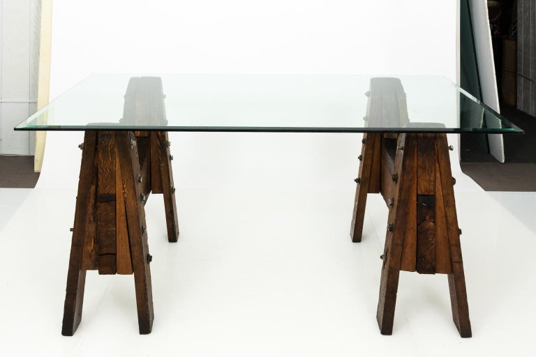 Industrial Oak Table In Good Condition For Sale In Stamford, CT