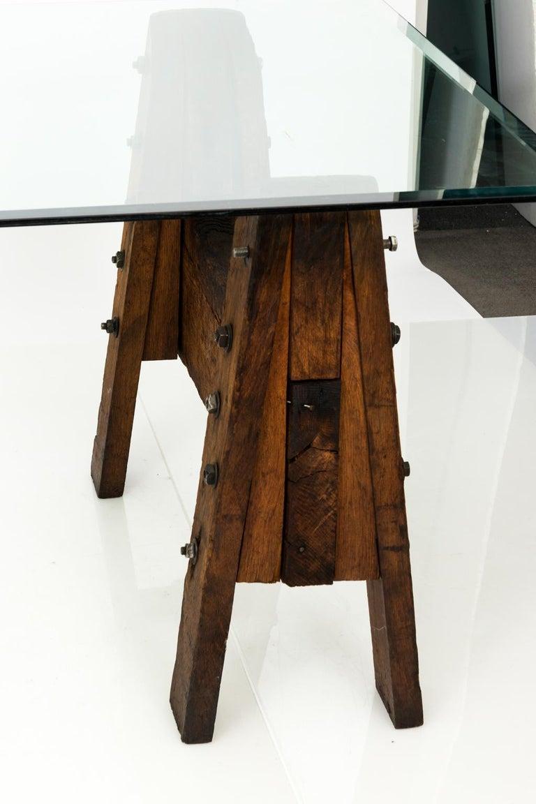 Glass Industrial Oak Table For Sale