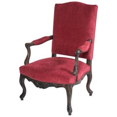 French Carved Wood Walnut Chair