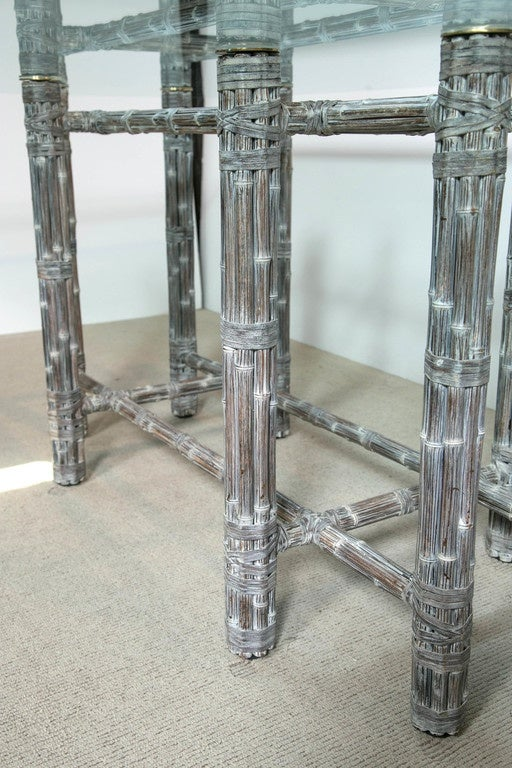 American Dining Table with Glass Top For Sale