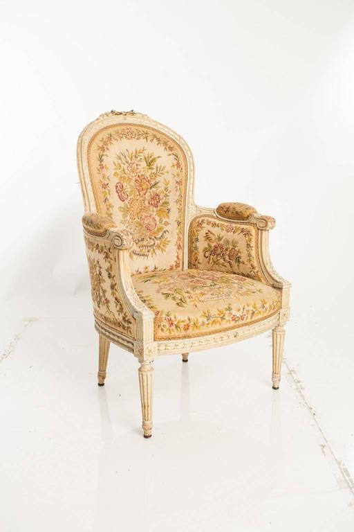 Needlepoint Bergères Chairs In Good Condition For Sale In Stamford, CT