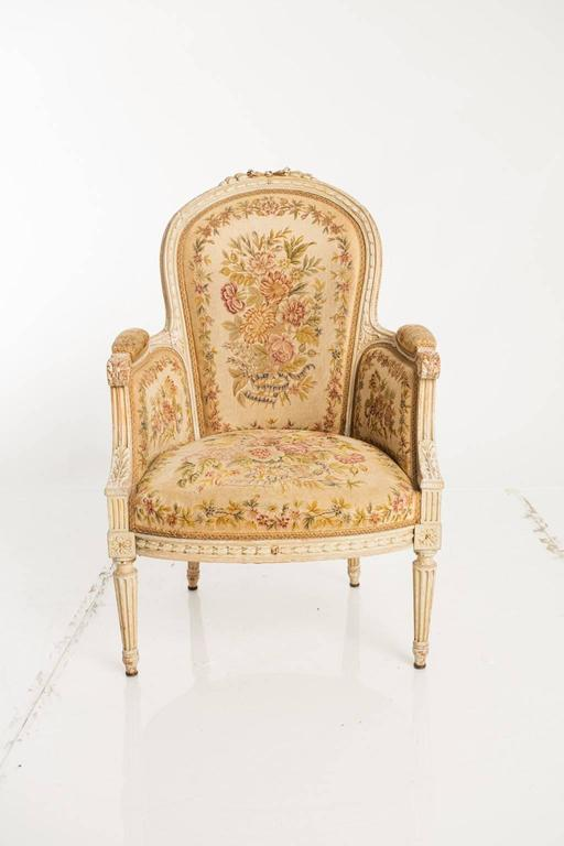 20th Century Needlepoint Bergères Chairs For Sale