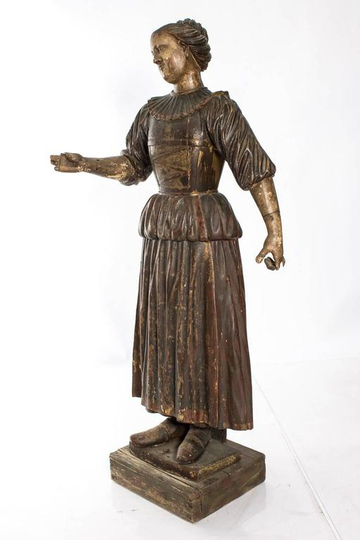 Carved Polychrome Figure In Fair Condition In Stamford, CT