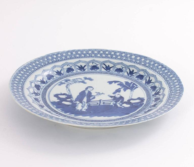 Glazed Chinese Blue and White Plate For Sale