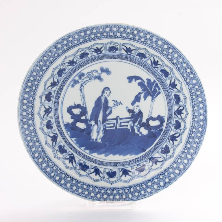 19th Century Chinese Blue and White Plate For Sale