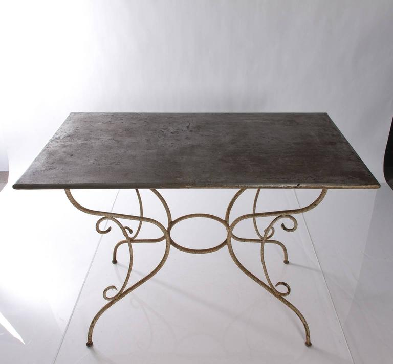 Iron and Steel Garden Table In Good Condition For Sale In Stamford, CT