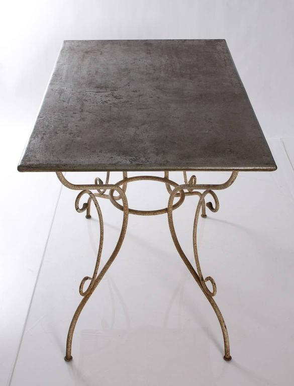 20th Century Iron and Steel Garden Table For Sale