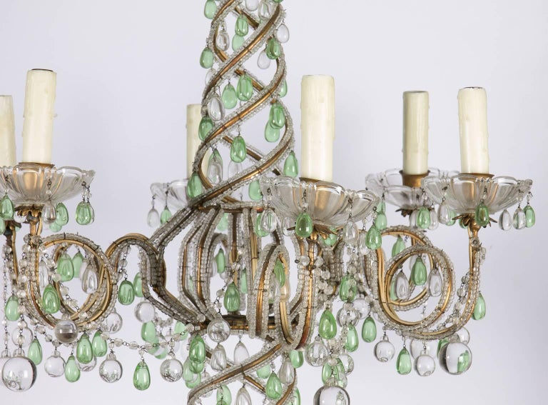 Early 20th century green and white six-light crystal chandelier.