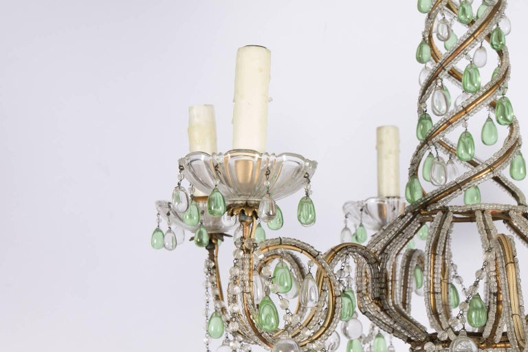 20th Century Green and White Six-Light Crystal Chandelier