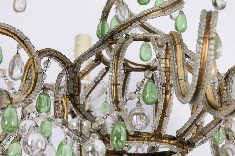 Green and White Six-Light Crystal Chandelier 1