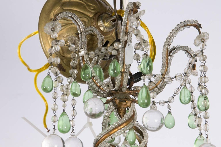 Green and White Six-Light Crystal Chandelier 2