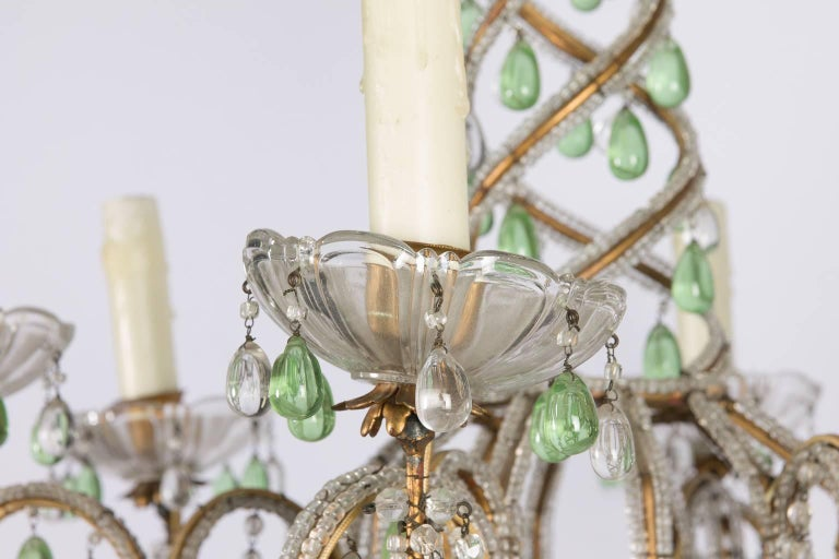 Green and White Six-Light Crystal Chandelier 3