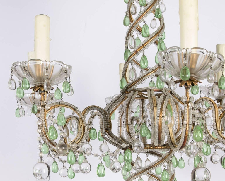 Green and White Six-Light Crystal Chandelier 4