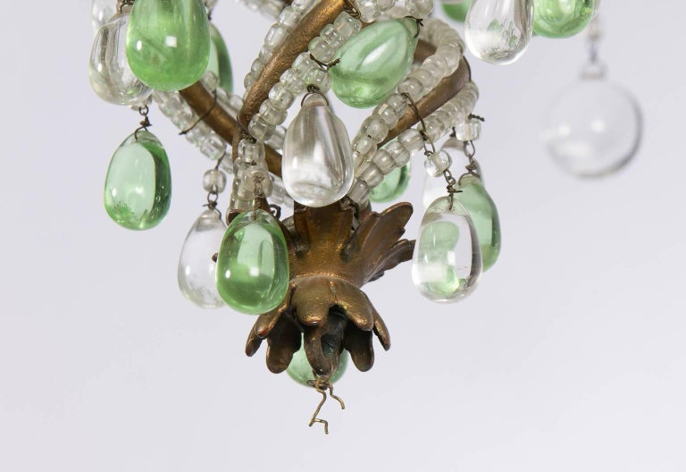 Green and White Six-Light Crystal Chandelier 5