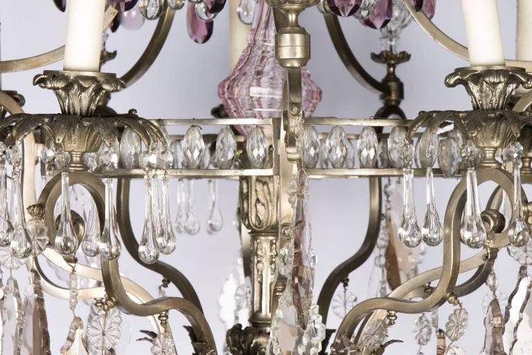 Early 20th century, Rococo style multicolored crystal chandelier.