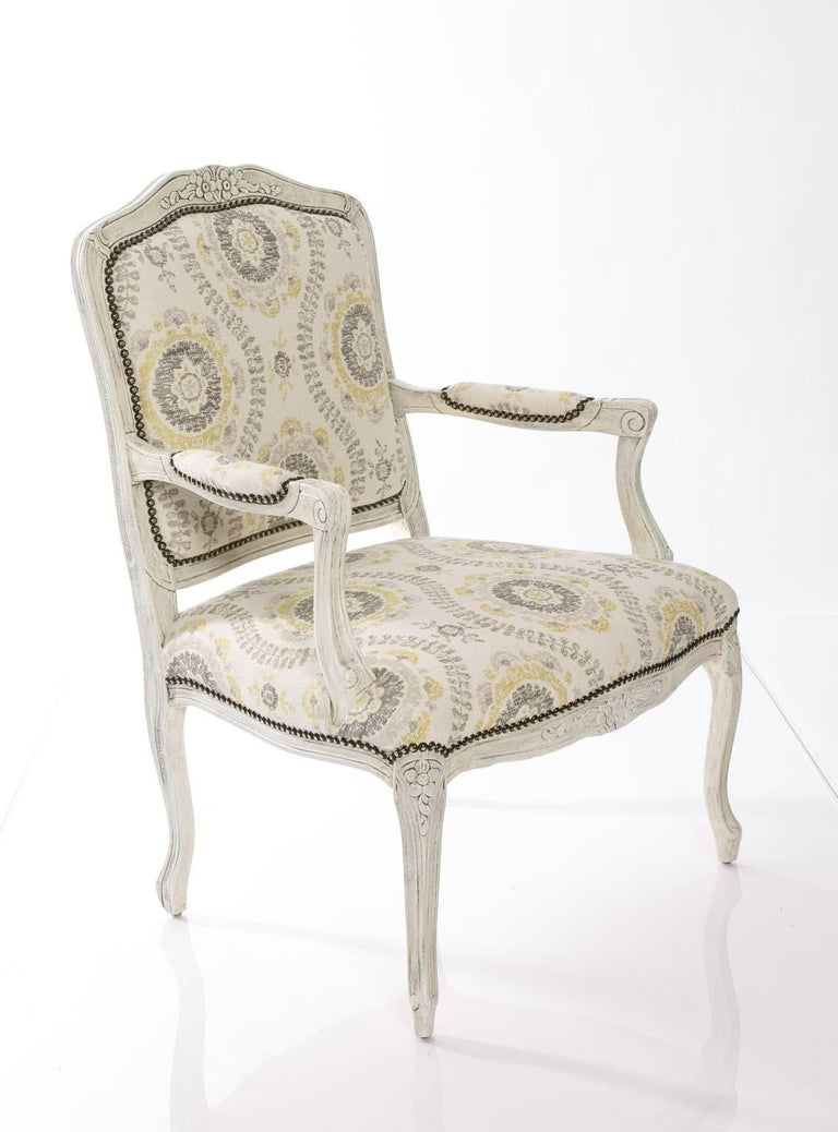Painted Open Armchair With Indian Flower Fabric For Sale