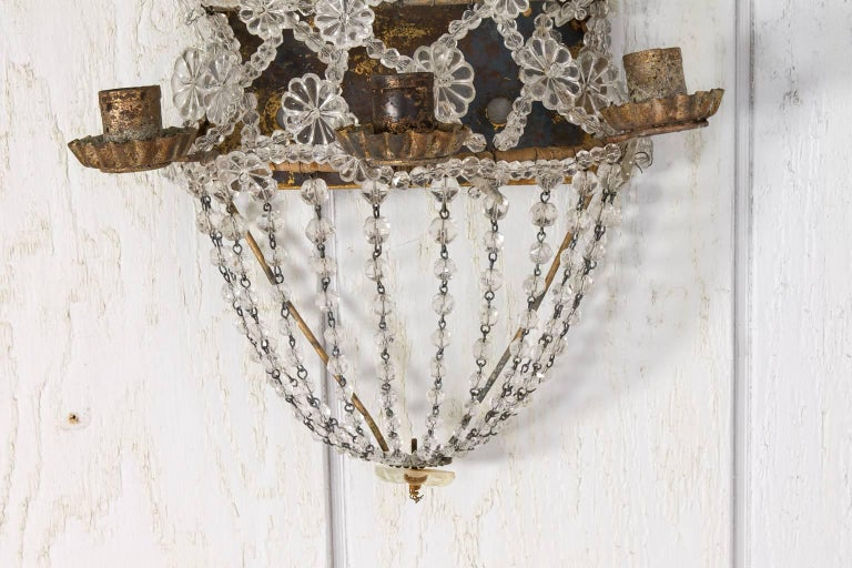 Beaded Crystal Wall Sconces : Pair of Crystal Beaded Wall Sconces For Sale at 1stdibs