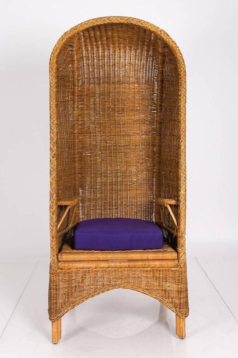 rattan cabana chair with purple cushion for sale at 1stdibs. Black Bedroom Furniture Sets. Home Design Ideas
