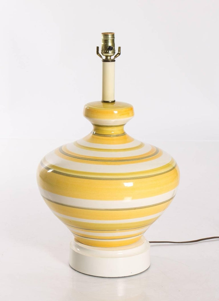 Glazed Pair of Ceramic Yellow and White Table Lamps For Sale