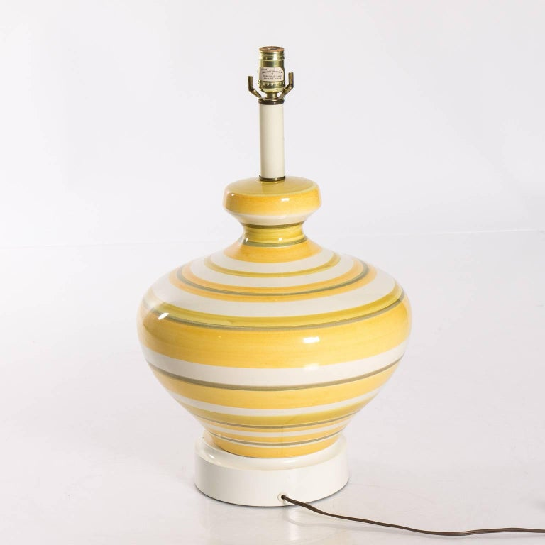 20th Century Pair of Ceramic Yellow and White Table Lamps For Sale