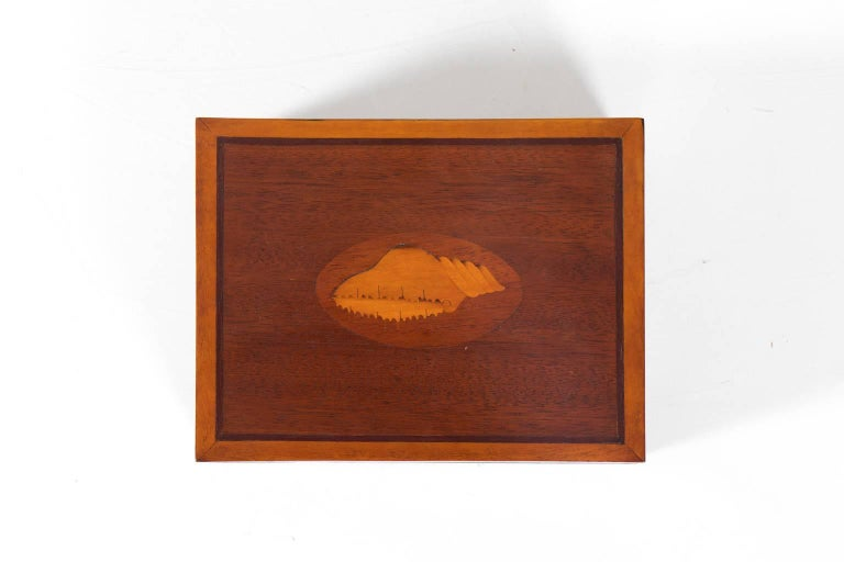 Mahogany Box with Shell Design In Good Condition In Stamford, CT