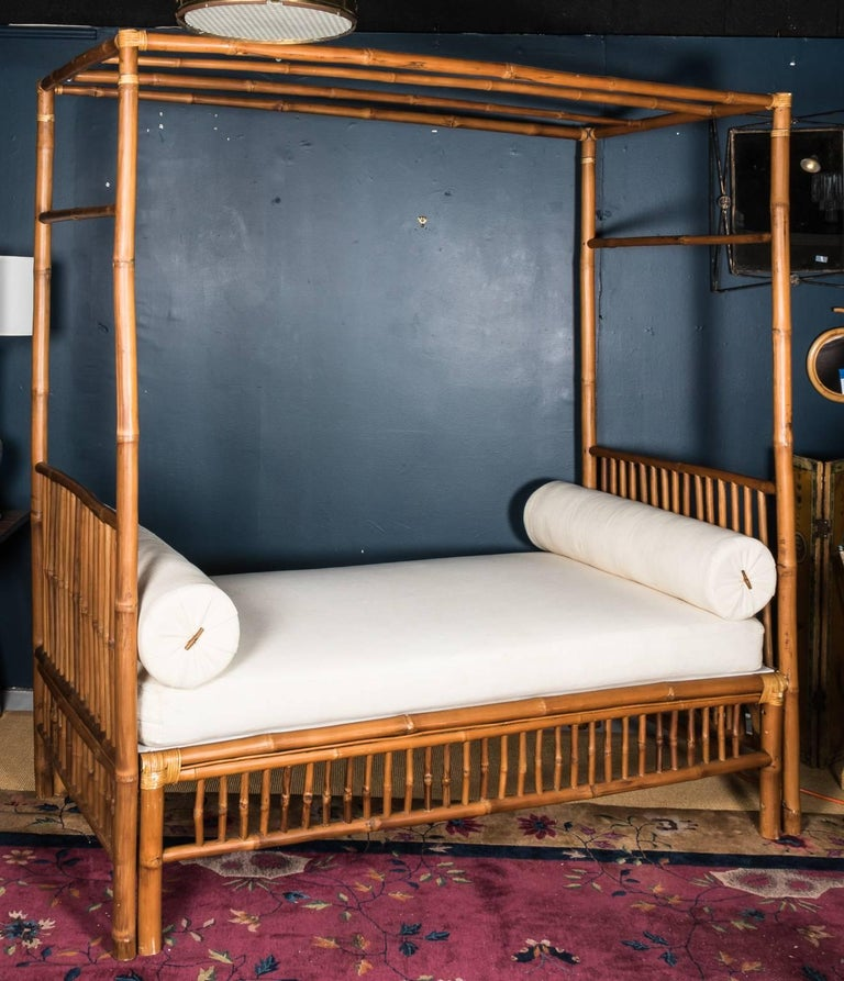 Rattan Faux Bamboo Canopy Bed For Sale 2