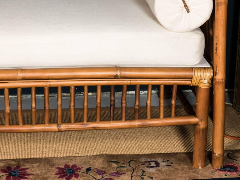 20th Century Rattan Faux Bamboo Canopy Bed For Sale