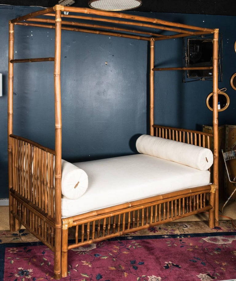 Rattan Faux Bamboo Canopy Bed For 3
