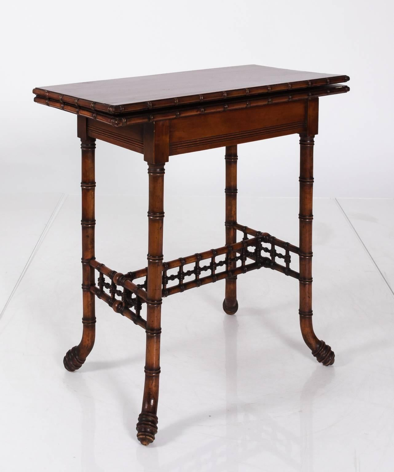 Wonderful Chinoiserie 19th Century Bamboo Game Table For Sale