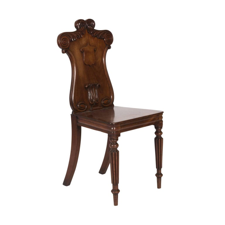 Victorian Pair of Mahogany Hall Chairs For Sale