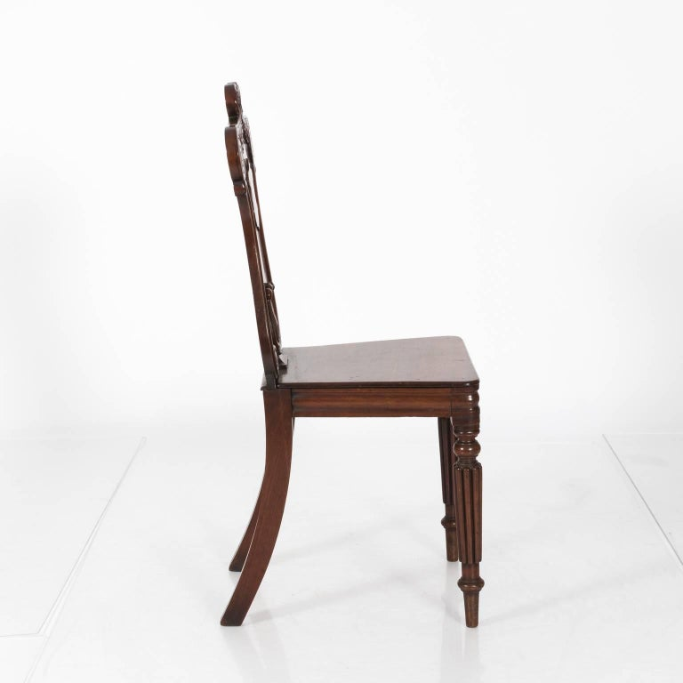 Pair of Mahogany Hall Chairs For Sale 1