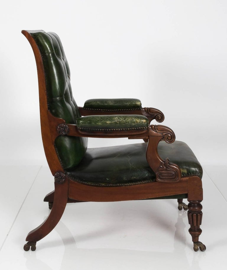 William IV Style Green Leather Chair, circa 1840 at 1stdibs