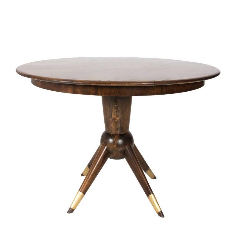 Mid Century Modern Teak Wood Adjustable Oval Round