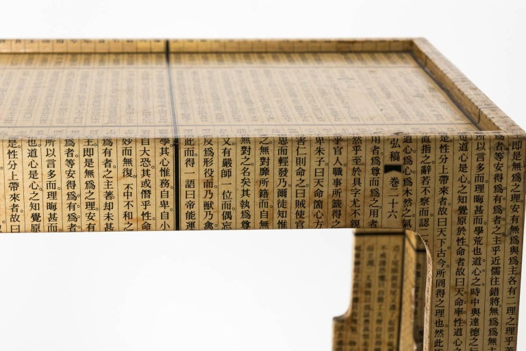 Paper Midcentury Découpage Chinese Newspaper Covered Table For Sale