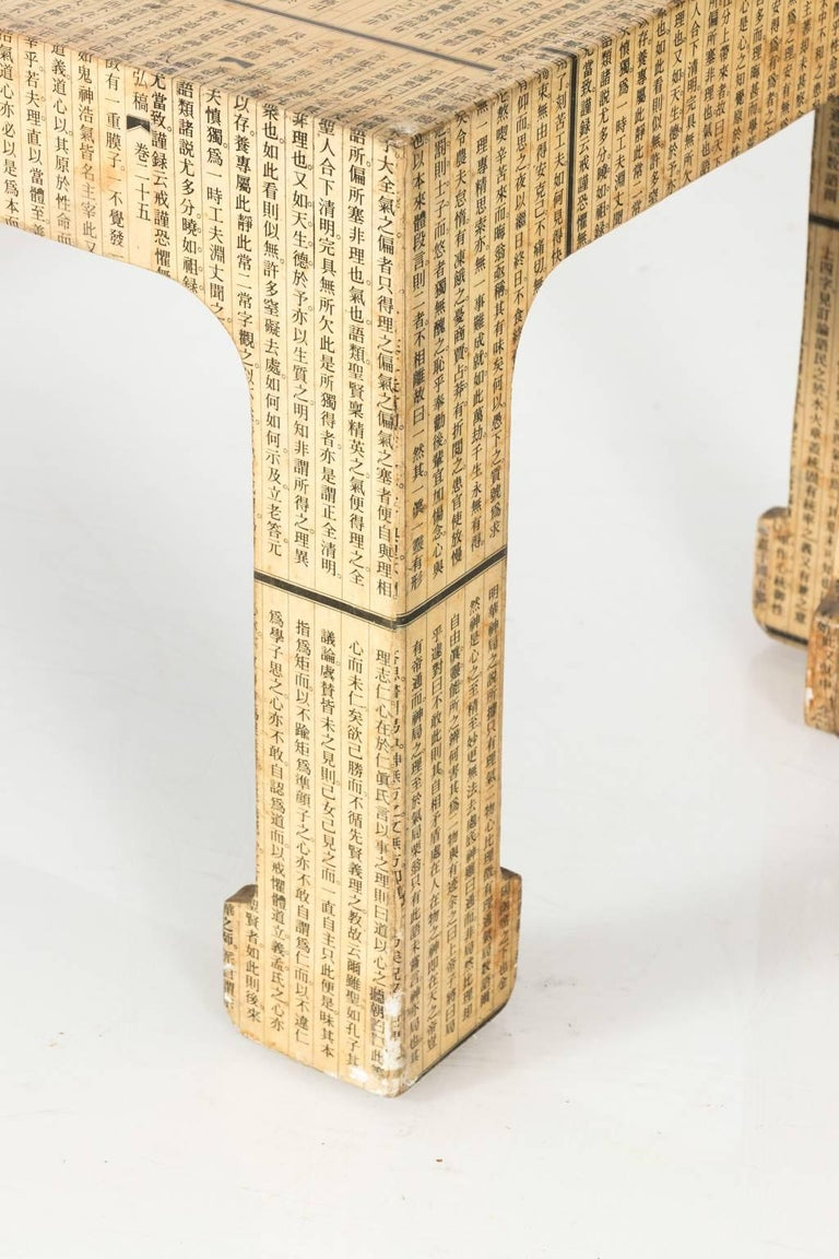Chinoiserie Midcentury Découpage Chinese Newspaper Covered Table For Sale