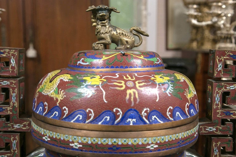 Chinese Cloissone Lidded Bronze Urn For Sale