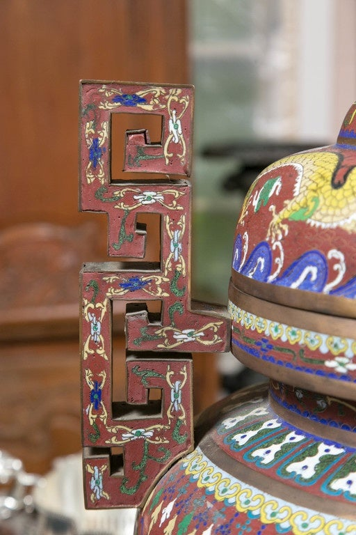 Cloissoné Cloissone Lidded Bronze Urn For Sale