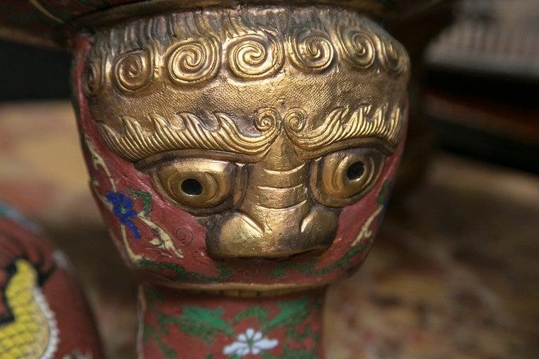 Cloissone Lidded Bronze Urn For Sale 2