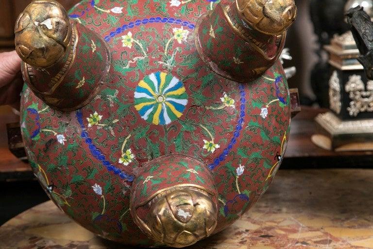 Cloissone Lidded Bronze Urn For Sale 3