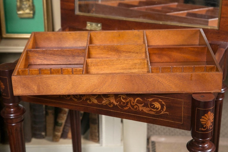Marquetry Inlaid Lift Top Dressing Table At 1stdibs