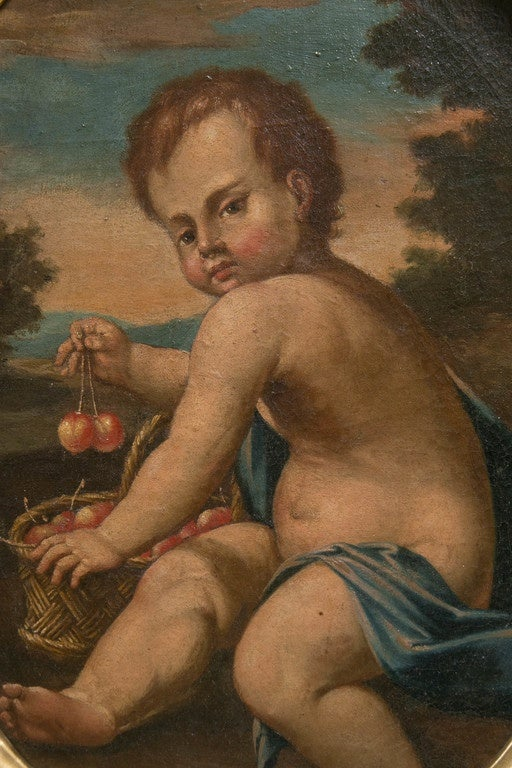 19th Century Pair of Oval Oil on Canvas Paintings of Putti For Sale