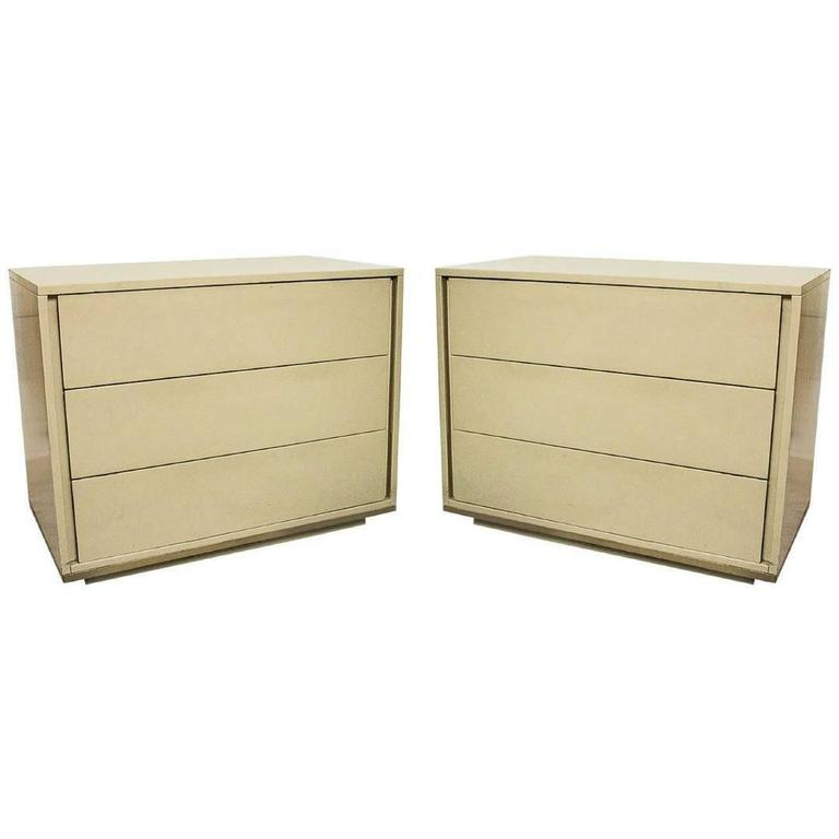 Pair of Mid-Century Modern John Stuart Stamped Chest Commode In A Creme Laquer