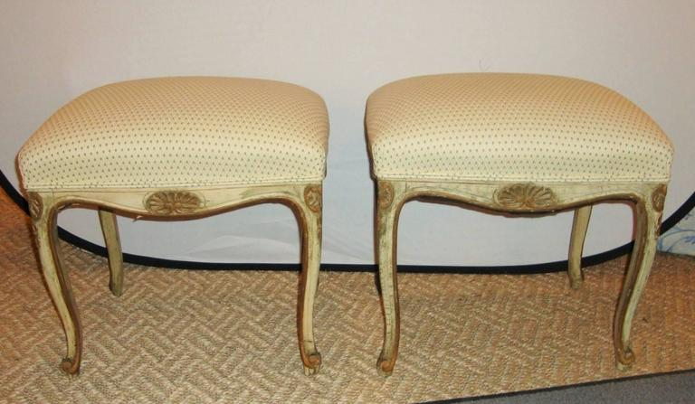 Pair of French Louis XV Style Painted Stools For Sale 2